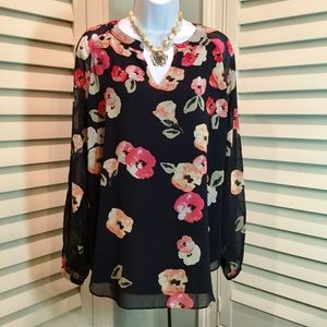 CAbi Floral Tunic, Medium, Like New